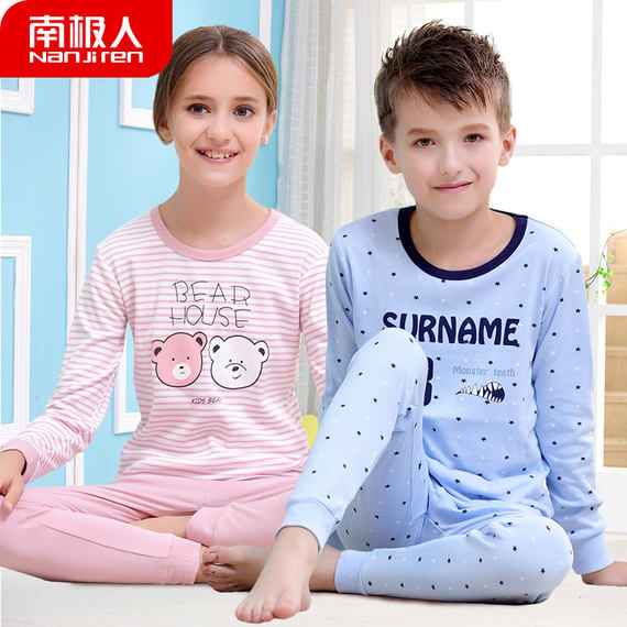 Antarctic children's underwear set cotton youth in the big children's autumn clothes boys and girls baby pajamas spring and autumn