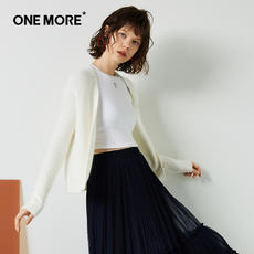 ONE MORE2017 winter new knitted cardigan women white fall shoulder long-sleeved sweater coat fashion sweet tide
