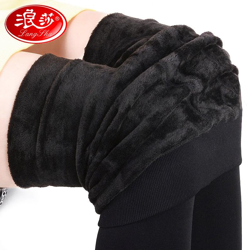 黑色打底袜加绒加厚款冬季连裤袜浪莎踩脚薄绒冬天丝袜女士长袜子