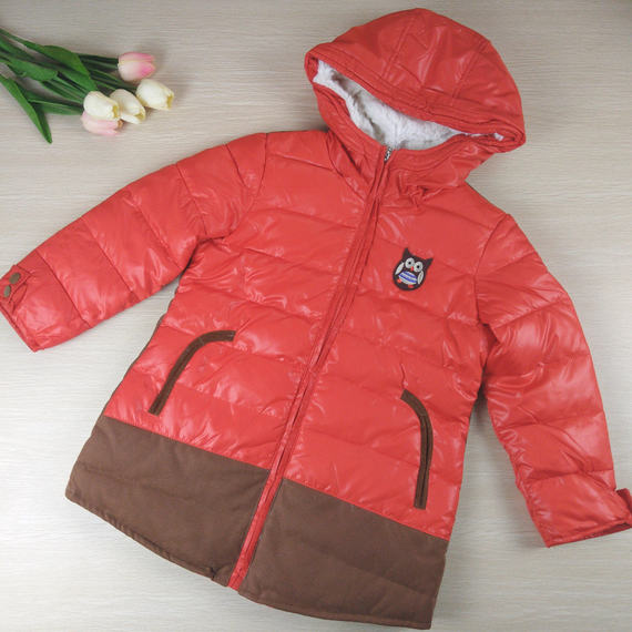 110-160 yards Xiaohu brand discount children's clothing boy autumn and winter coat hooded down jacket orange red GC-54L281