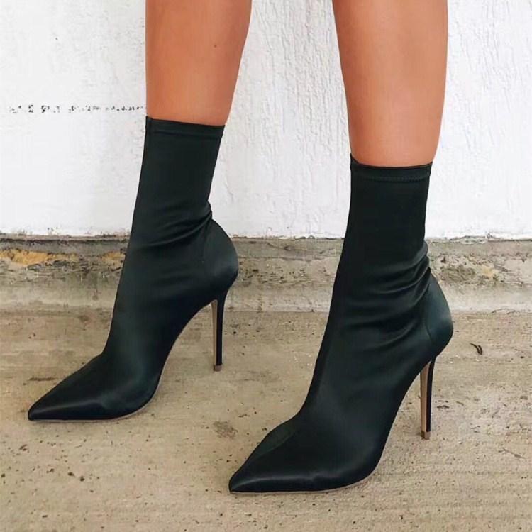 秋冬尖头细跟女短靴欧美肯豆同款高跟弹力布靴百搭瘦腿中筒袜子靴