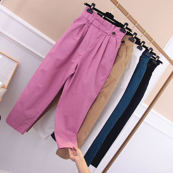 2018 summer new Korean version of the solid color loose Harlan nine pants women high waist was thin students wild casual pants