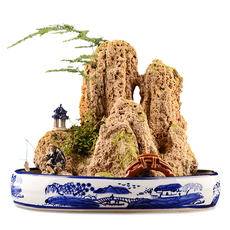 Water absorbing stone on water stone real stone mountain water rockery stone natural stone water show original stone ornamental stone ceramic basin bonsai