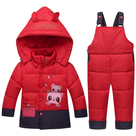 Children's down jacket suit boys and girls two-piece 1-3 years old baby bib children open winter jacket
