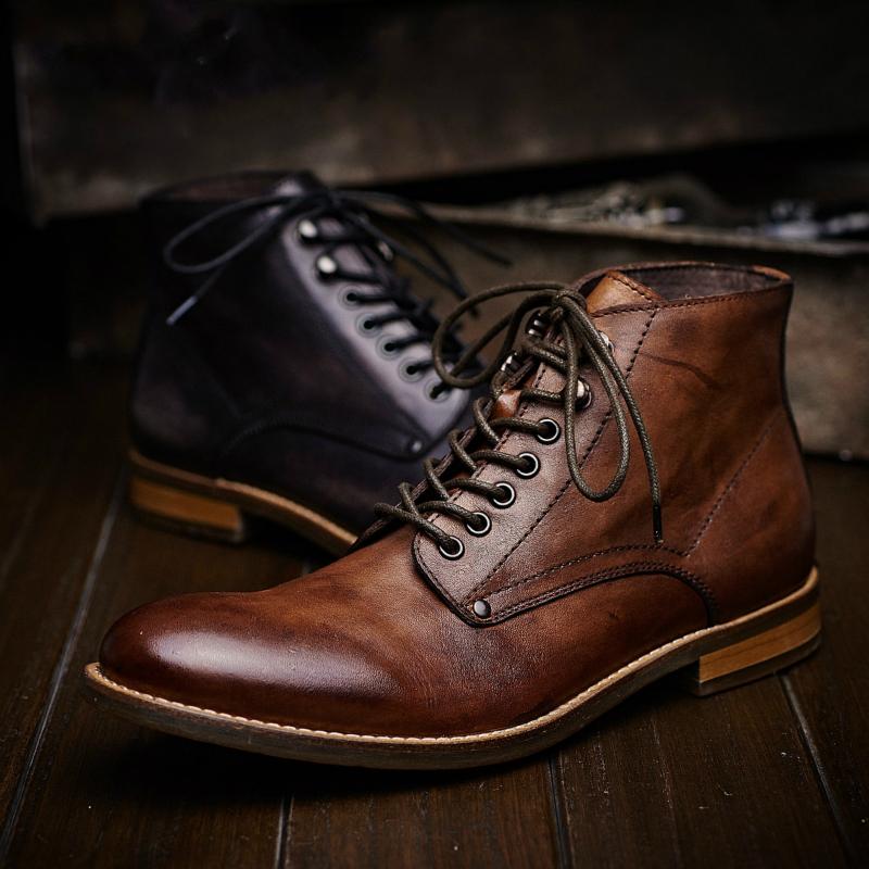 冬季英伦商务马丁靴男高帮鞋 休闲真皮短靴男士皮靴 潮复古男靴子