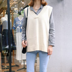 Sweater female loose simple solid color wild thin V-neck long sweater Korean student vest vest