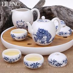 台湾宜龙庙会陶瓷功夫茶具套装青花瓷茶具整套茶壶盖碗公道杯茶杯