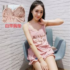 With chest pad pajamas women's summer sexy harness suit short-sleeved wear bra underwear cotton two-piece home service