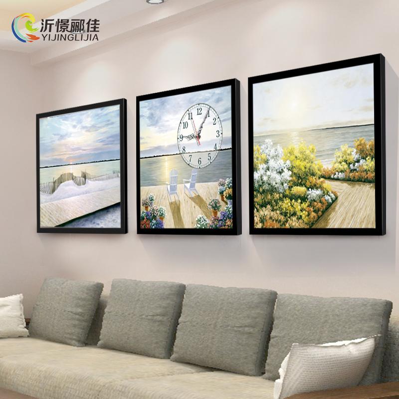 北欧风客厅装饰画无框画挂钟沙发背景墙三联挂画餐厅书房钟表壁画