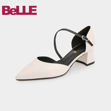 Belle sandals fairies summer 2019 shopping mall new one line sandals women thick heel shoes woman 3a530bk9 pictures
