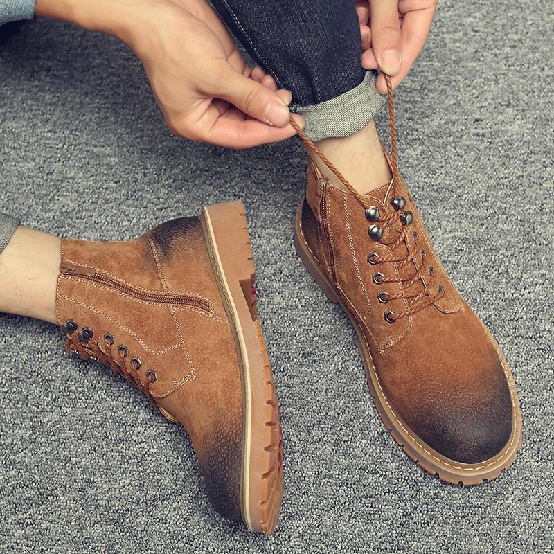新款马丁靴男夏季英伦风工装高帮鞋男短靴韩版百搭学生靴子大黄靴