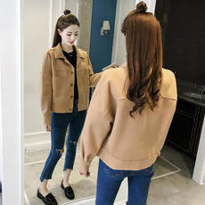2018 spring new Korean version of the wild long-sleeved short-haired woolen jacket women loose thin lapel wool coat tide