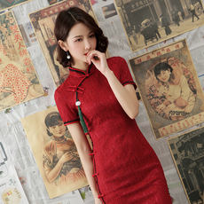 Old Shanghai new style cheongsam female 2019 spring young girl daily fashion retro Republic wind red long section