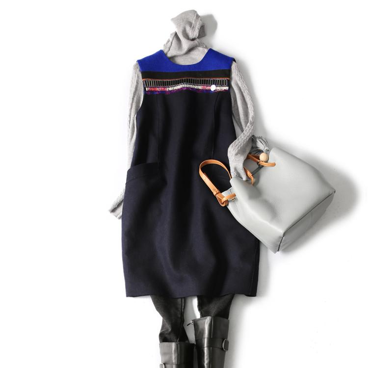 の[A465790] 笑涵阁 重工钉珠亮片时尚减龄羊毛无袖连衣裙