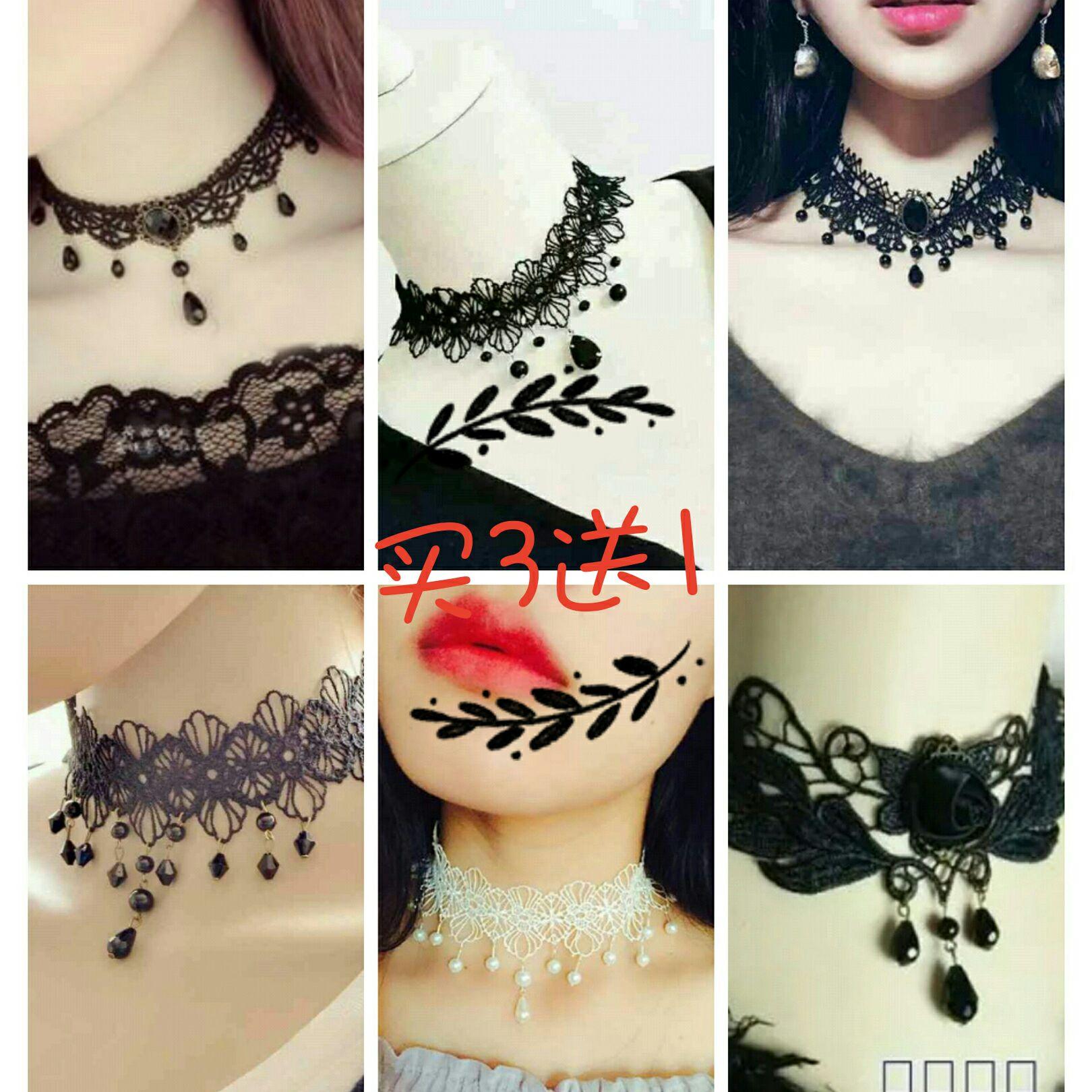 礼服配饰蕾丝项链颈饰项圈锁骨女性感黑白色围脖加宽脖子饰品