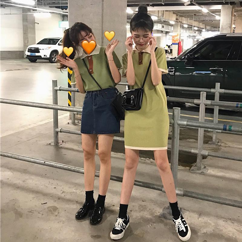 夏季韩版学院风宽松针织衫毛衣T恤上衣女中长款慵懒风短袖连衣裙