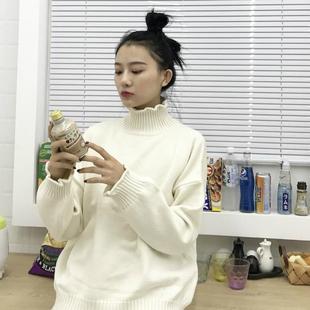秋冬女装韩版宽松时尚套头花瓣卷边长袖针织衫打底毛衣学生上衣潮