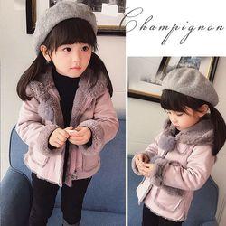 童装女童加绒外套2018新款1-3岁5秋装6儿童冬装洋气宝宝保暖上衣