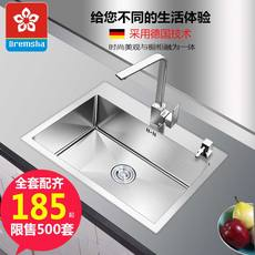 German manual sink single tank kitchen 304 stainless steel thick 4MM large single trough package under the sink basin
