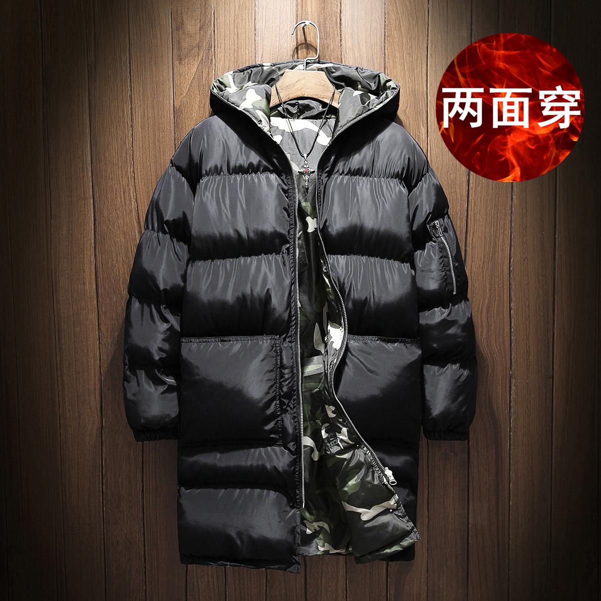 两面穿中长款棉衣男加肥加大码青年宽松棉服袄国潮胖子冬季装迷彩