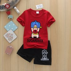 Children's clothing wholesale factory direct sales color 2 piece set summer new cartoon short sleeve + black shorts children's suit