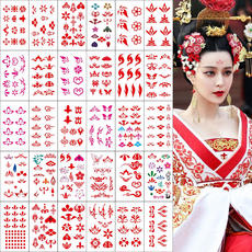 Flower Emei Heart Sticker Hanfu Costume Flower Print Beauty Tattoo Sticker Waterproof Female Lasting Sexy Photo Forehead Sticker 30