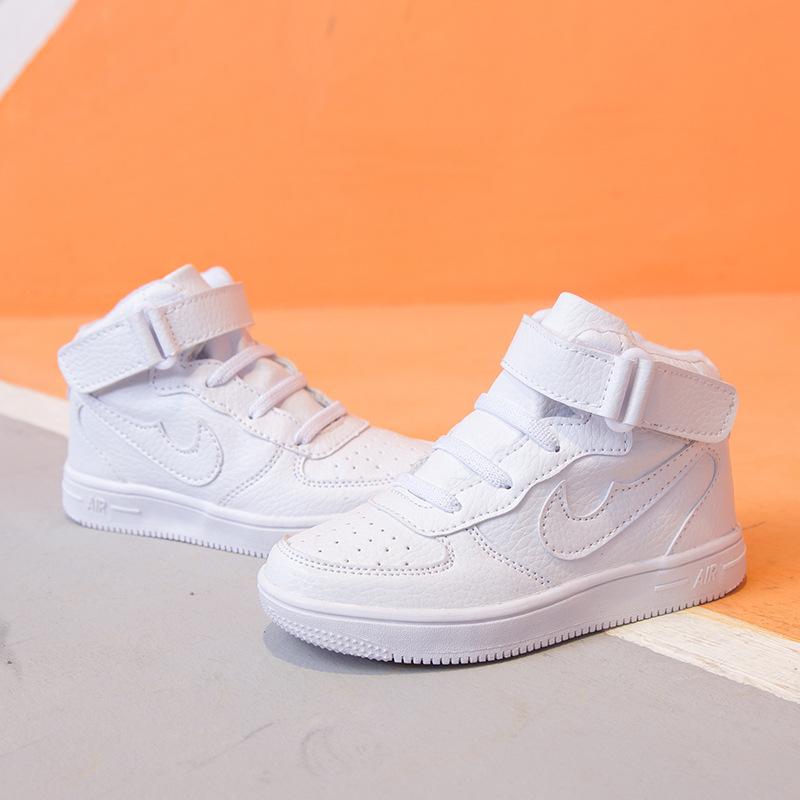 秋季4男童5小童6初高中生嘻哈3运动板鞋10岁纯色白色中高邦街舞鞋