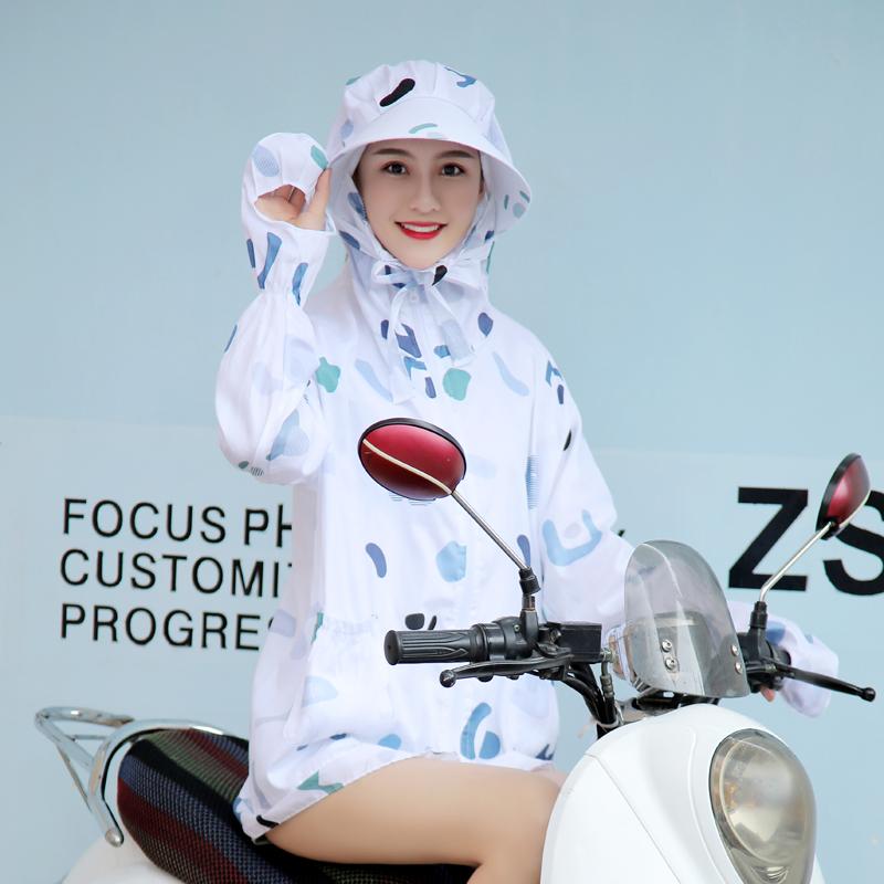 骑电动车防晒衣女夏2017新款短款长袖外套带帽口罩手套一体披肩棉