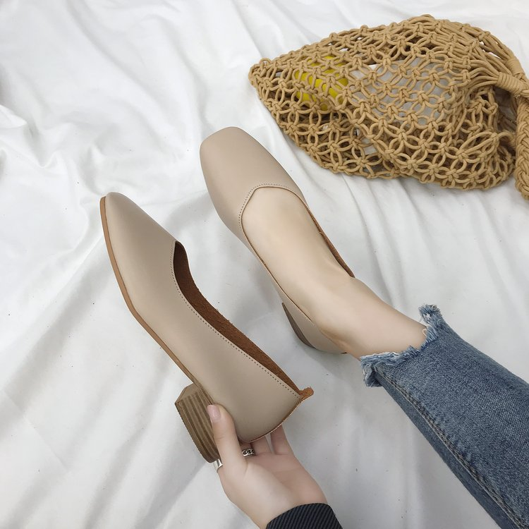 单鞋女2018秋季新款韩版粗跟方头复古奶奶鞋浅口百搭中跟玛丽珍鞋