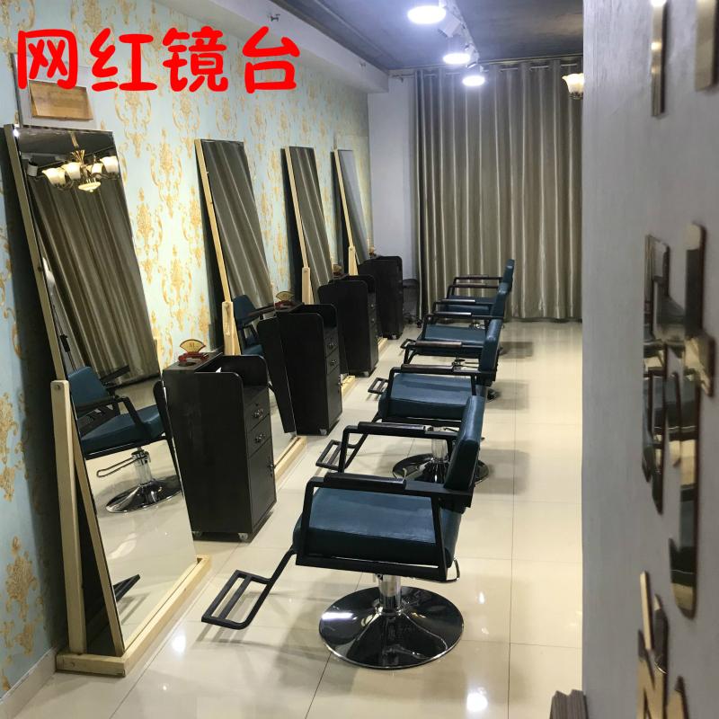 网红美发镜台发廊专用简约清新现代风LED镜单面落地镜理发店镜子