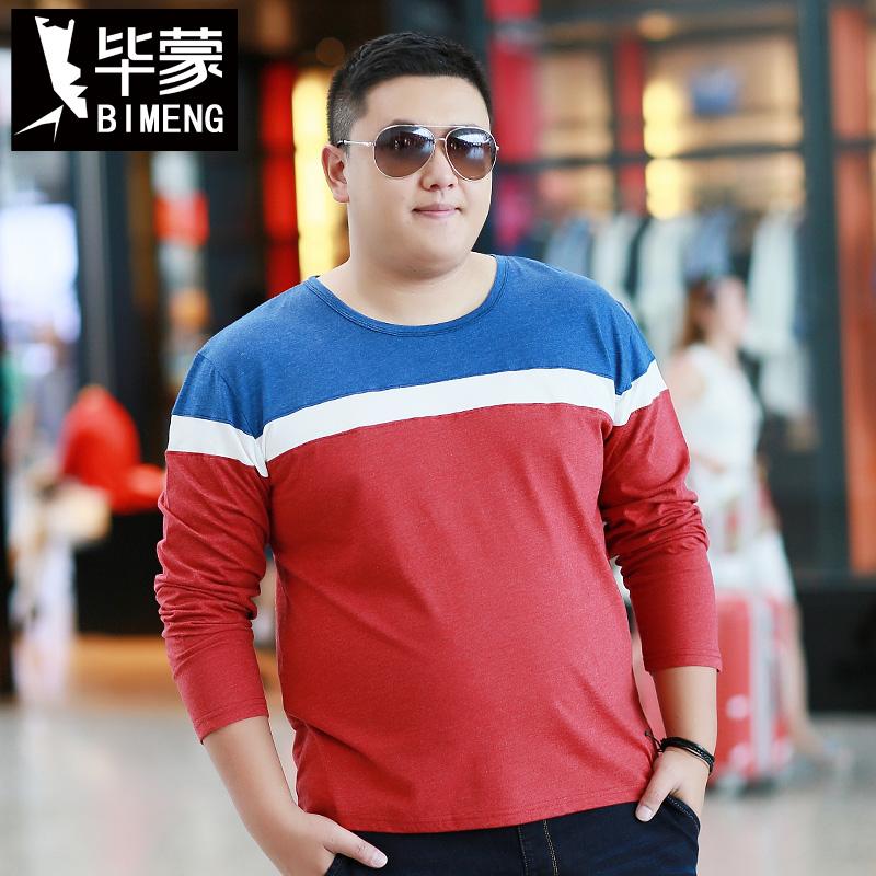 秋肥佬胖子男装超加大码加肥红色拼色宽松长袖打底T恤衫200斤以上