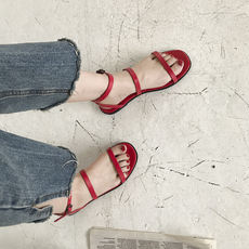 Ins super fire original design minimalist retro square head double fine sandals female summer chic Korean style flat sandals