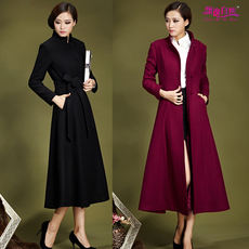 2018 autumn and winter new authentic European and American wool, Slim, slim, long windbreaker, goddess coat, woolen coat