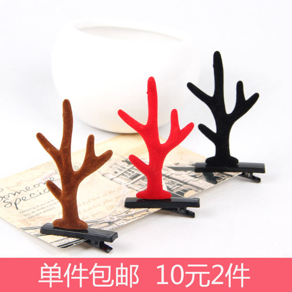 Festive cartoon Mori hair accessories clip antlers tiara self-timer show props photo cute super cute elk hairpin