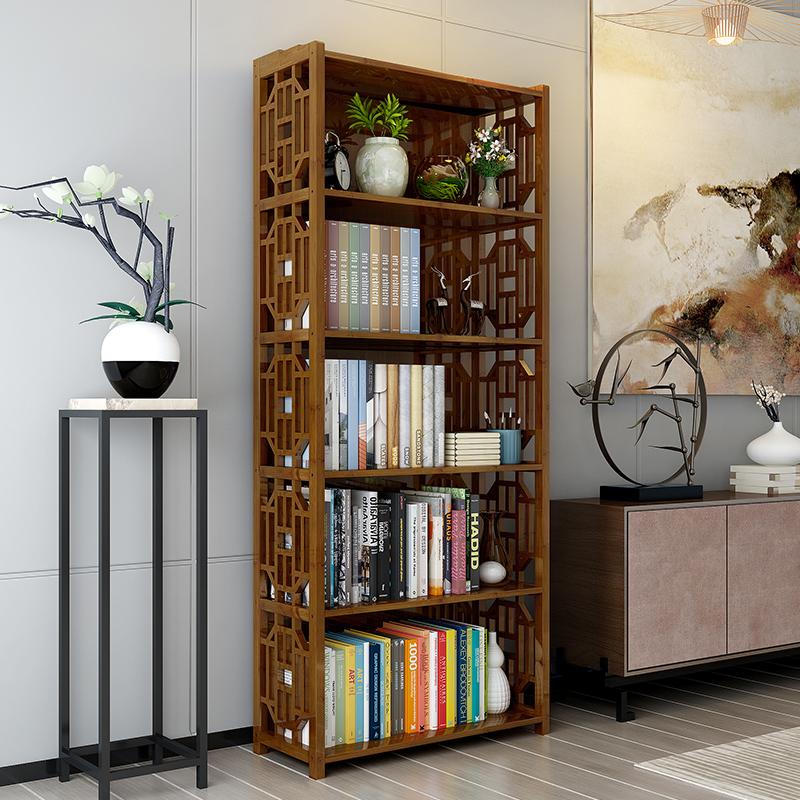 楠竹中式书架现代简约多功能仿古小书柜自由组合落地书架储物柜子