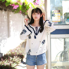 Township 姗姗 Drizzle like crisp Sen Nationality Literature and art Retro Embroidery Lantern sleeves Tassel Baby shirt Tops