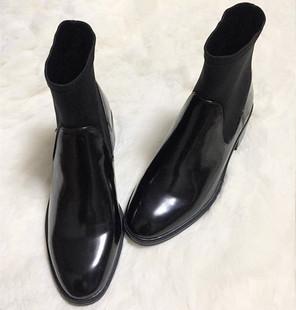 2017秋冬弹力黑色袜靴漆皮粗跟拼接短靴女鞋圆头中跟切尔西短靴潮