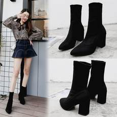 2019 Korean version of the new boots autumn and winter thick with elastic boots women's shoes high-heeled pointed black British wind Martin boots