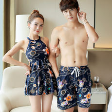 Couple swimwear female 2018 new conservative cover belly Korean swimwear men's beach pants swimwear couple models suit