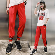 One Wen Baigang Flavored Radish Trousers Elastic Waist Loose Bunch Side Stitch Black Red Hit Color Casual Harem Pants