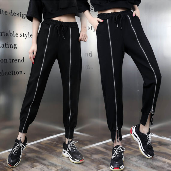 European station zipper casual sports pants harem pants female 2018 spring and autumn new fashion wild radish pants tide