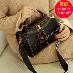 包包女2018新款韩版手提包百搭斜挎单肩包时尚真皮波士顿包枕头包