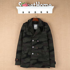 Men's large size double-breasted pockets square collar straight casual knit camouflage jacket cardigan 4-4