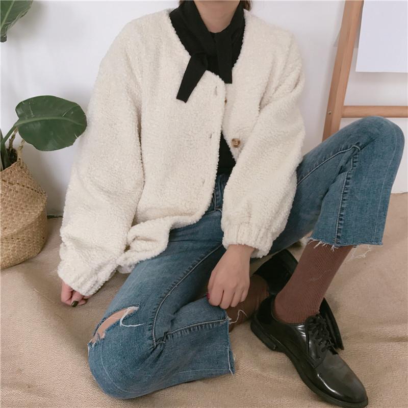 学院风韩国秋冬女装加厚羊羔毛保暖外套女短款单排扣长袖开衫上衣