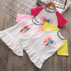 Girls dress summer 2018 new Korean children's short-sleeved shirt mesh skirt baby baby princess dress