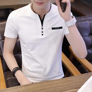 男短袖T恤夏装新款V领韩版修身半袖打底衫男士纯棉上衣服休闲小衫