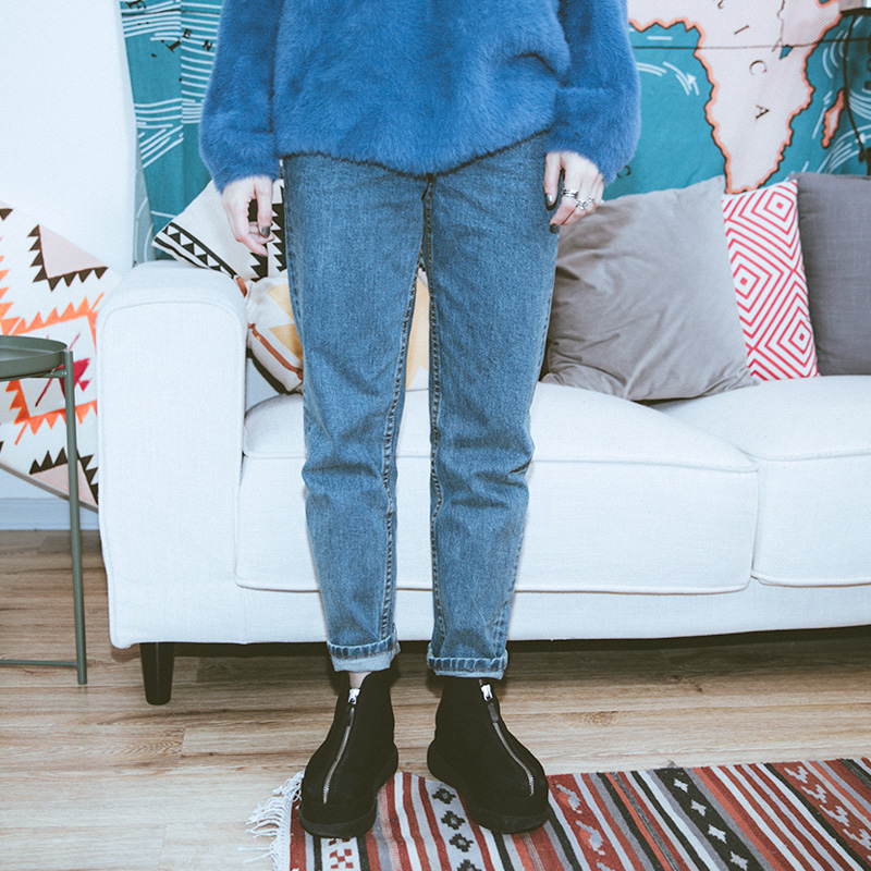 泡菜的店 春季新款百搭基础款宽松显瘦加厚长裤水洗蓝色牛仔裤 女