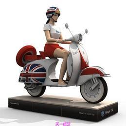 美女踏板摩托车3D纸模型益智手工立体折纸玩具天一纸艺人气精品