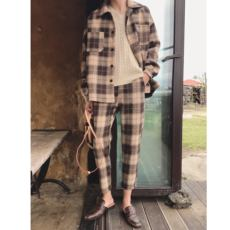 A tea and Agu retro plaid woolen autumn and winter new Korean style lapel jacket suit male