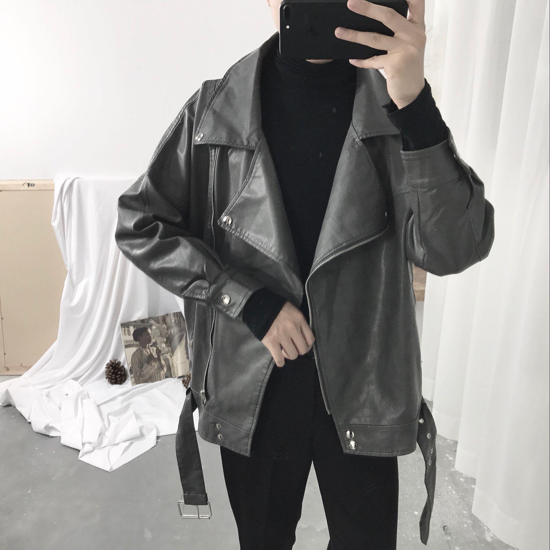 阿茶与阿古自制灰色挺阔时髦皮衣17ss